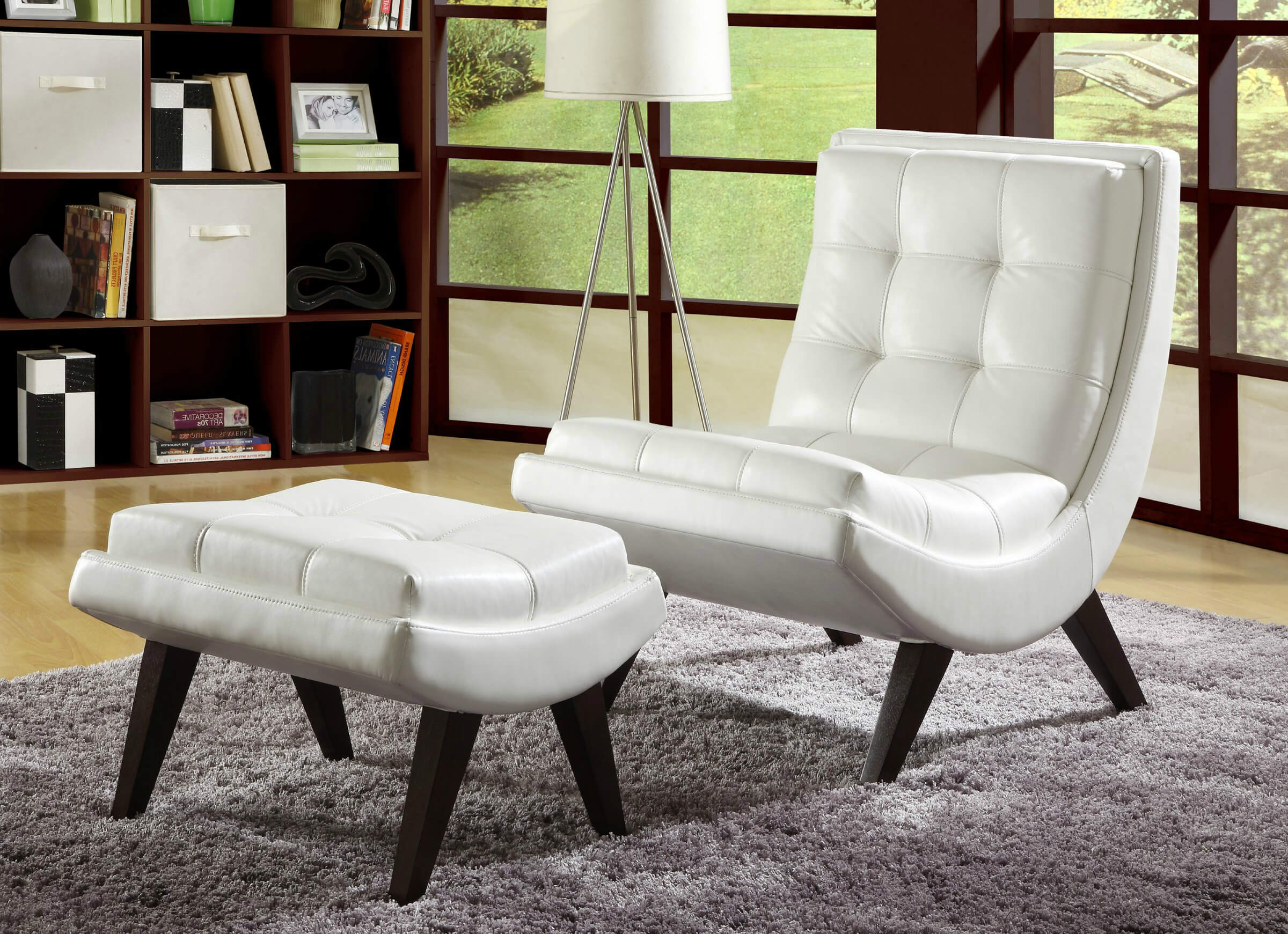Wood occasional chairs - Contemporary Accent Chair Paired With Ottoman Comes In White Faux Leather With Button Tufting In Curved