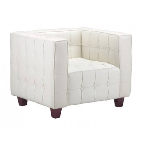Cubic Button chair from Zuo Modern features fully leather seating surfaces with faux leather back and siding for a more affordable price, with ribbing and button pattern on all visible surfaces and short tapered natural wood feet.