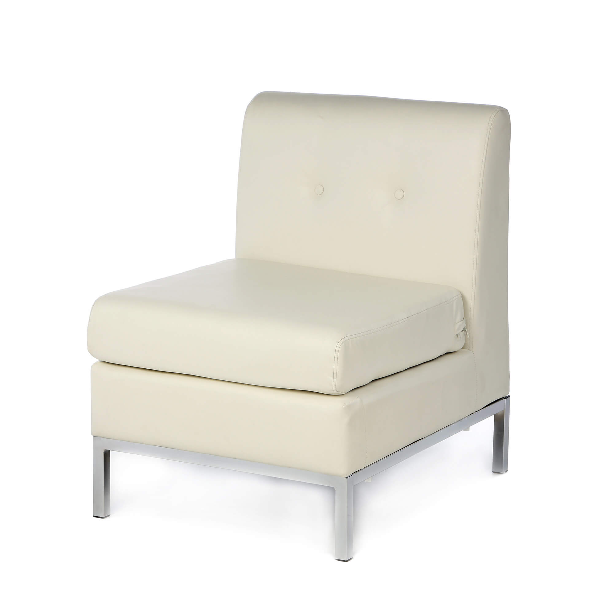 Classically Simple Club Chair From Castleton Home In Tufted White Faux  Leather Cushion Over Hardwood Construction .