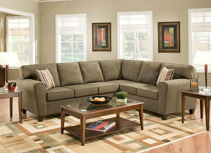 Another 100 percent polyester sectional, this smoke gray piece is  contemporary, but simple.