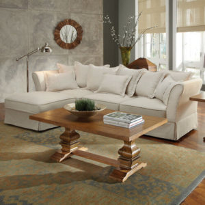 White Chaise Lounge Sectional With Pillows