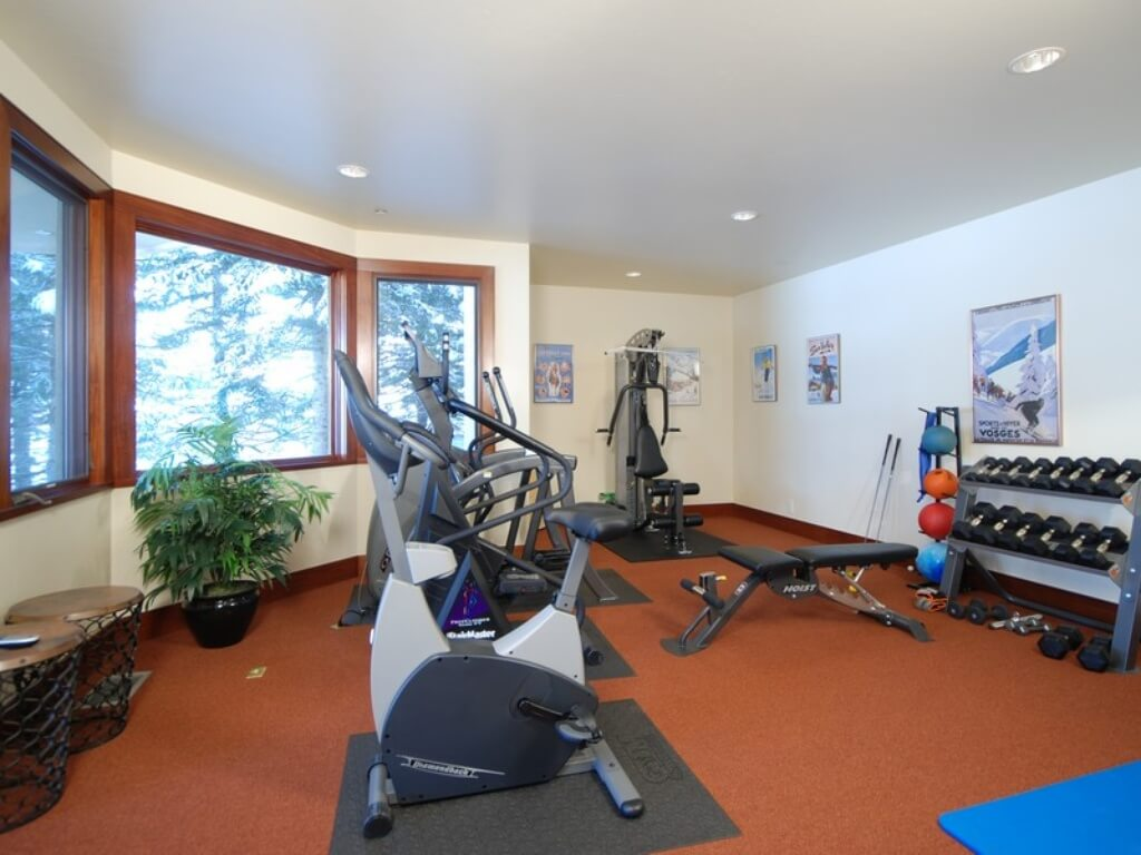 Home gym with cardio machines and free weights (dumbbell rack).