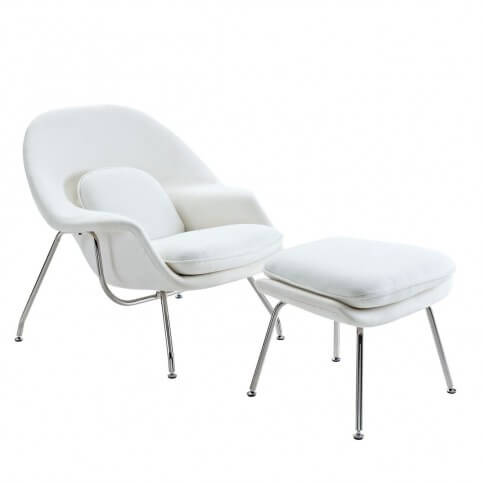 Matching lounge chair and ottoman set from Modway makes the perfect accent chair as an all-in-one solution. Stainless steel base supports fiberglass shell with stuffed wool surface all around.