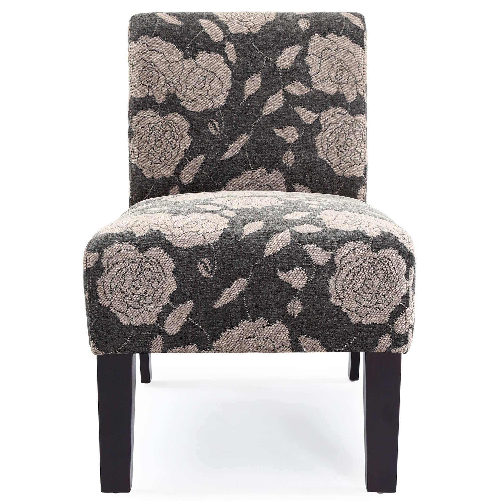 This is a floral accent chair with a mainly dark pattern that would work well with dark grey furniture for a matching color scheme