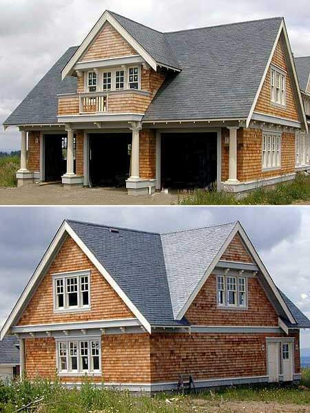 Natural wood shingle carriage house with three stall garage separated by white columns.