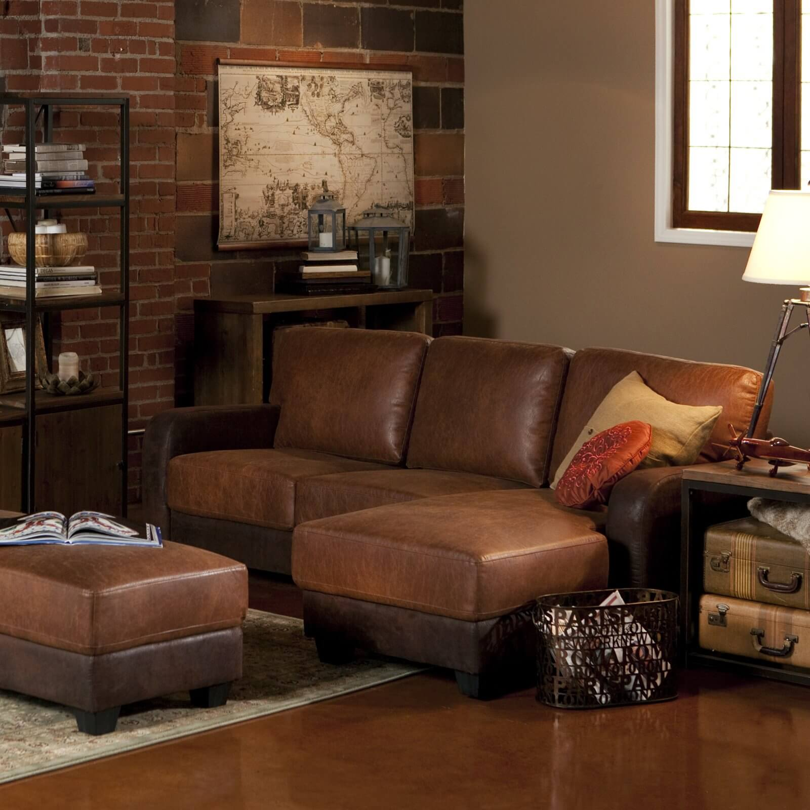 This sectional from Abbyson is 100 percent polyester with bonded leather accents, which makes it a durable choice for a family with young children or pets.