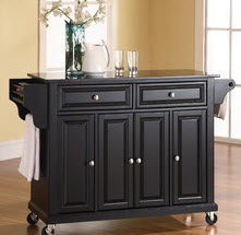 Kitchen cart with wheels and granite top