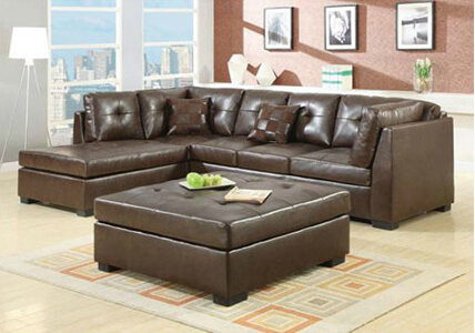 Bonded leather and simple tufting make this piece casual enough for any home.