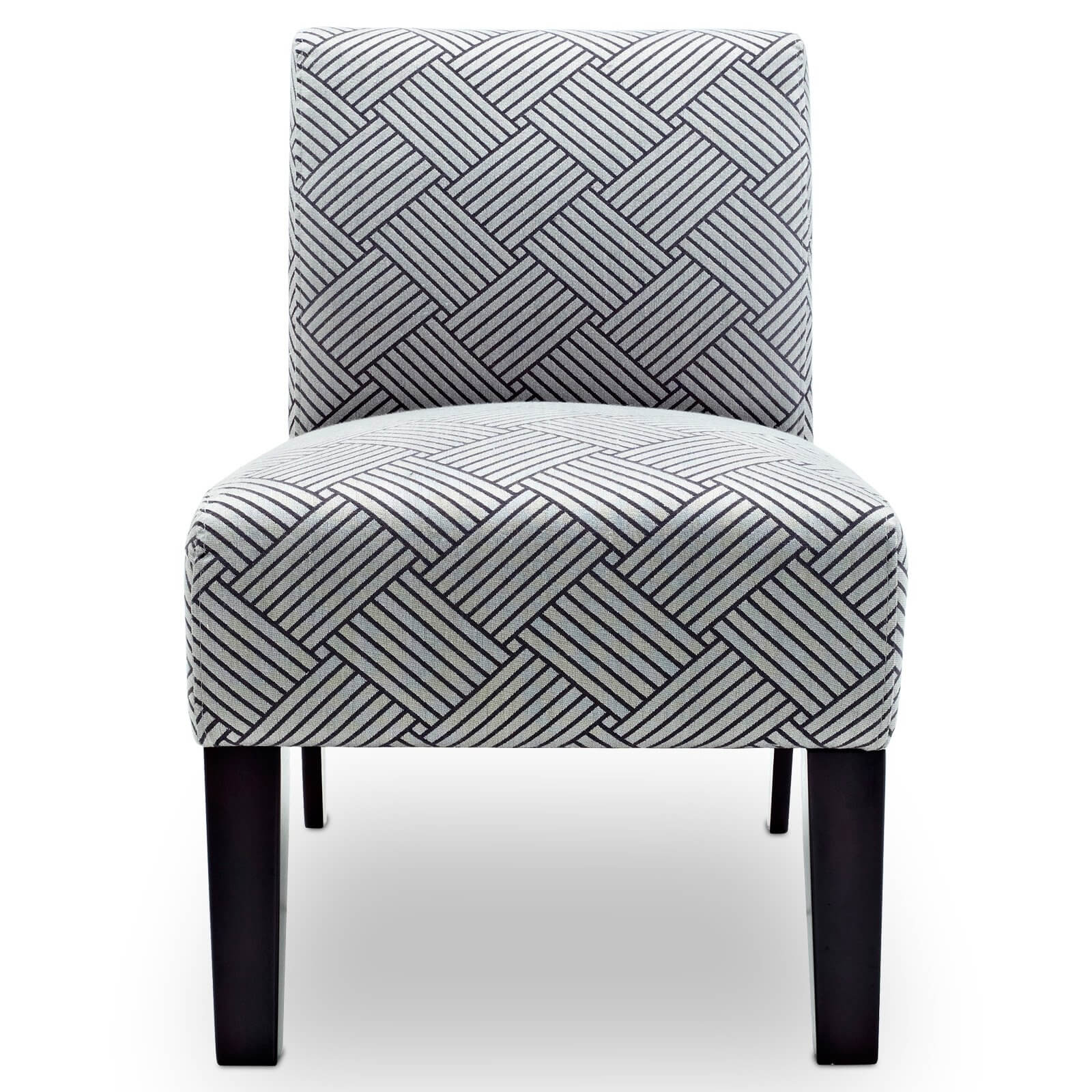 I love the pattern of this accent chair (because I like geometric patterns).  It's an elegant pattern, but this chair definitely requires other larger furniture in the space.