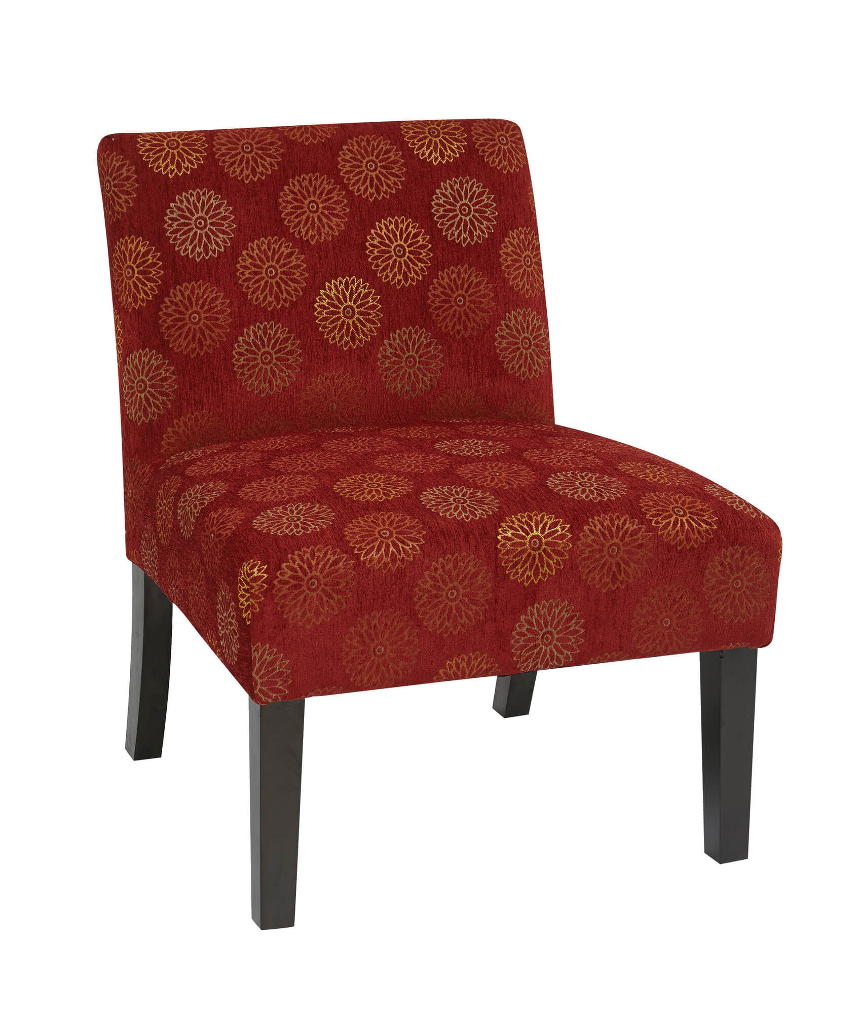 Here's a classic accent chair in that it offers a splash of color to a dark or light room as well as being a slight design so that it complements larger furniture well.