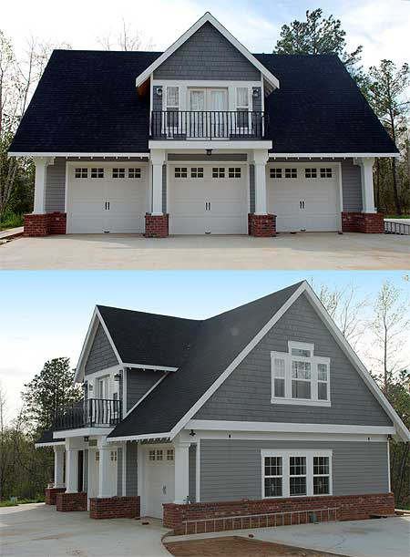 This similar three stall carriage house features white carriage-style garage doors separated by white columns under balcony.