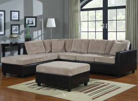 This two-tone piece by Coaster features beige corduroy and black vinyl around the base.