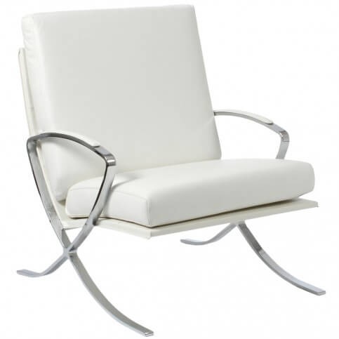 This mid-century elegant white chair with true leather cushions and stainless steel frame comes from Euro Style, with matching ottoman for an all-in-one accent chair experience.