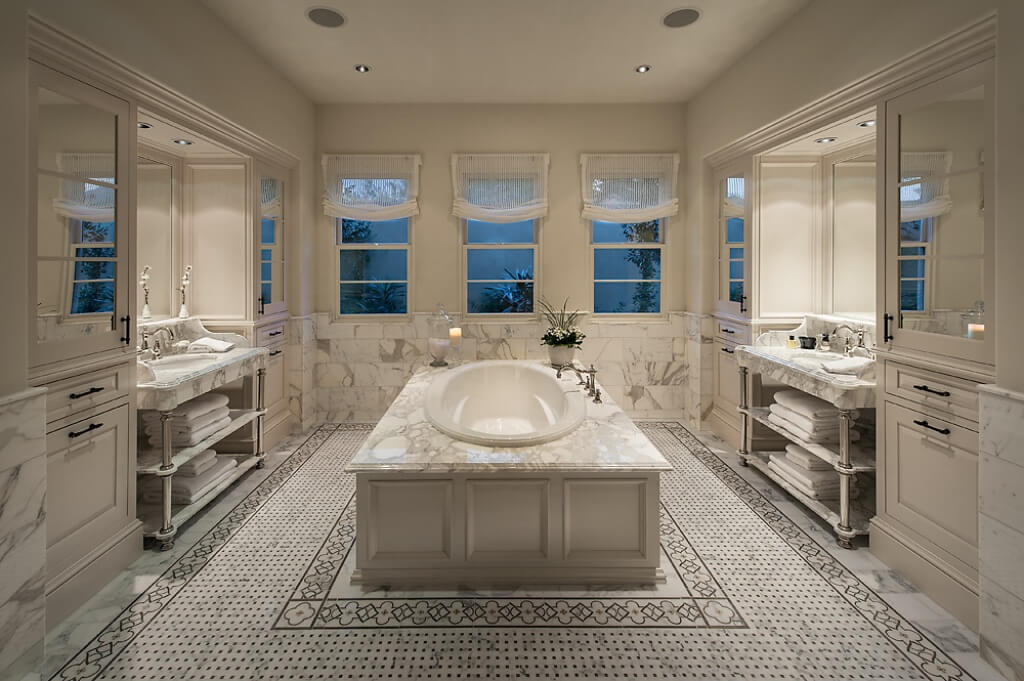 Elegance describes this master bathroom. It's spacious and luxurious
