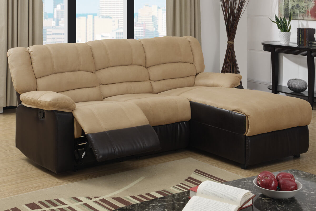This recliner features contemporary design with hazelnut microfiber and espresso bonded leather trim.