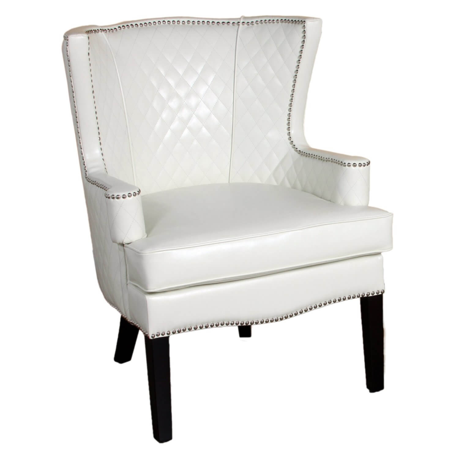 Another ivory toned chair, this quilted leather seat by BEST features wide seating, with padded cushion and backing for utmost comfort. The rounded back and arms make it livable in addition to aesthetically pleasing for any living room or office setting.