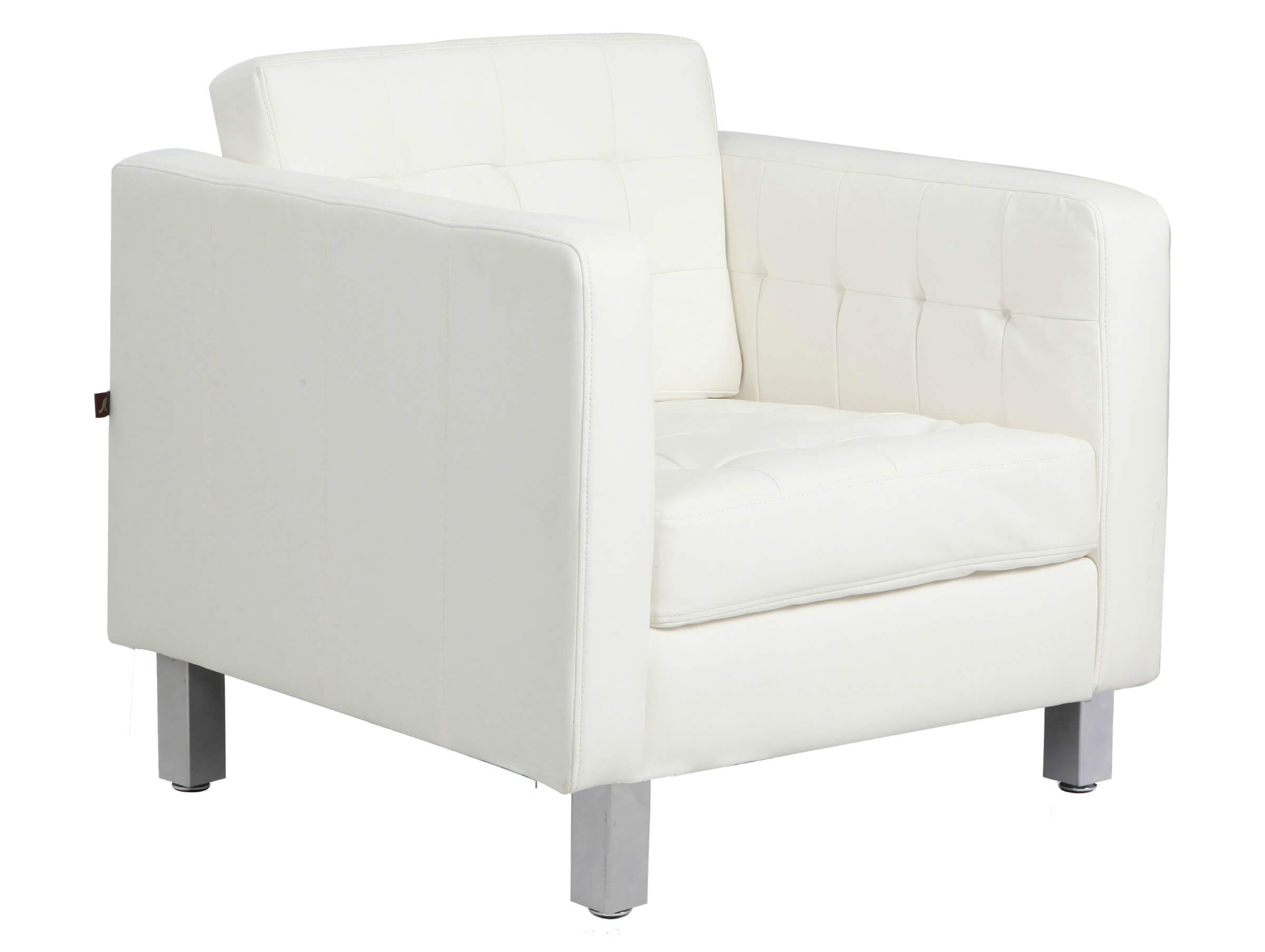 Buttoned, bonded white leather design of this Rissanti accent chair holds wide, comfortable cushion seating and classic angled shape for versatile use.