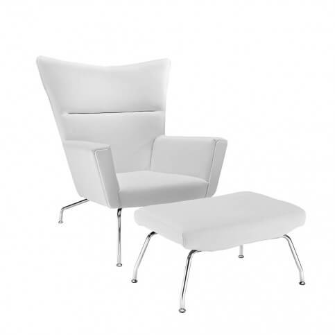 The First Class Chair from Modway features white leather cushioning on all surfaces, with seating between wingtip arms. Chromed steel legs on chair and matching ottoman offer timeless appeal.