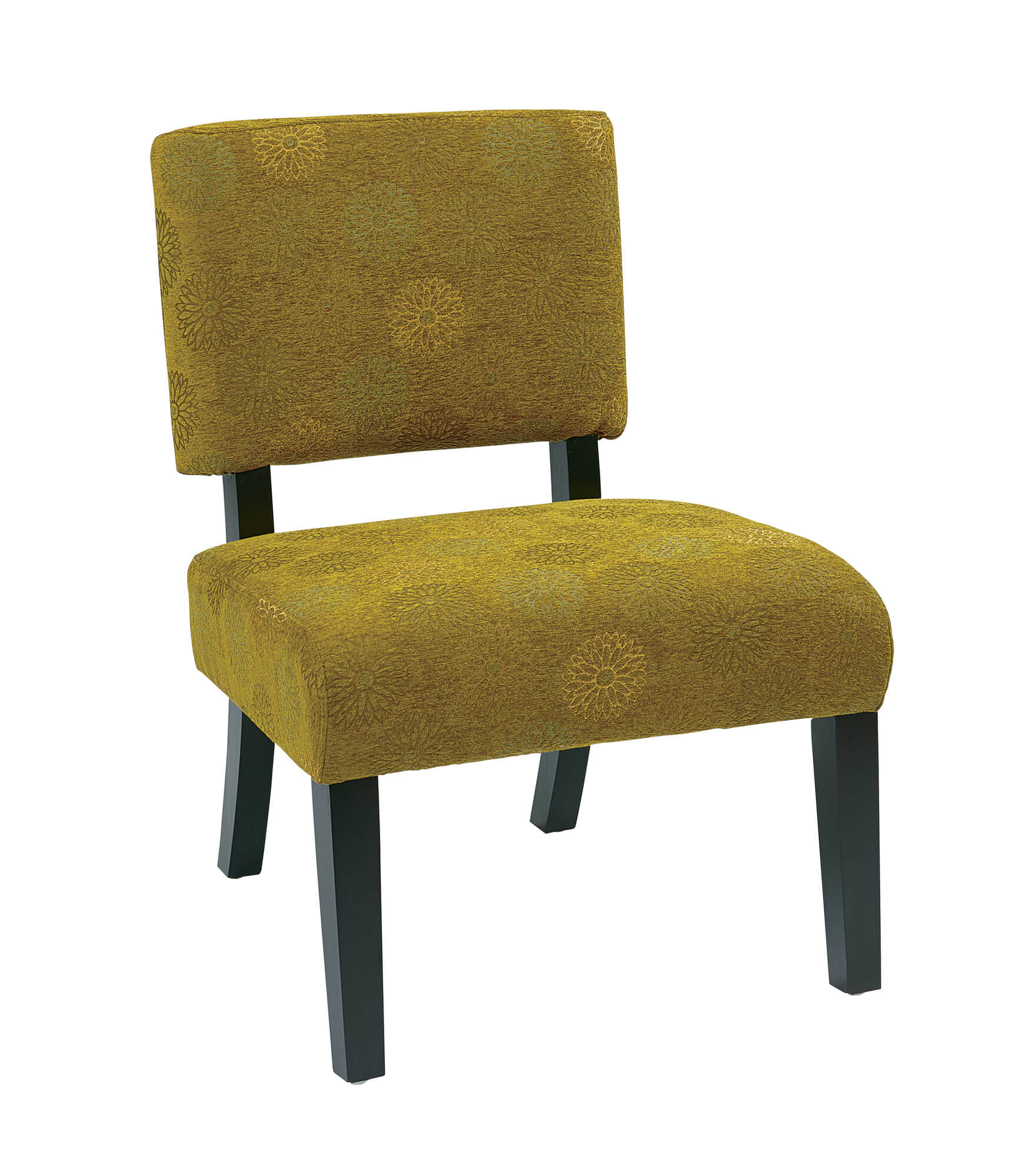Here's a small accent chair priced just under $100 with a yellow-green fabric that works very well in an earth-tone dominant room