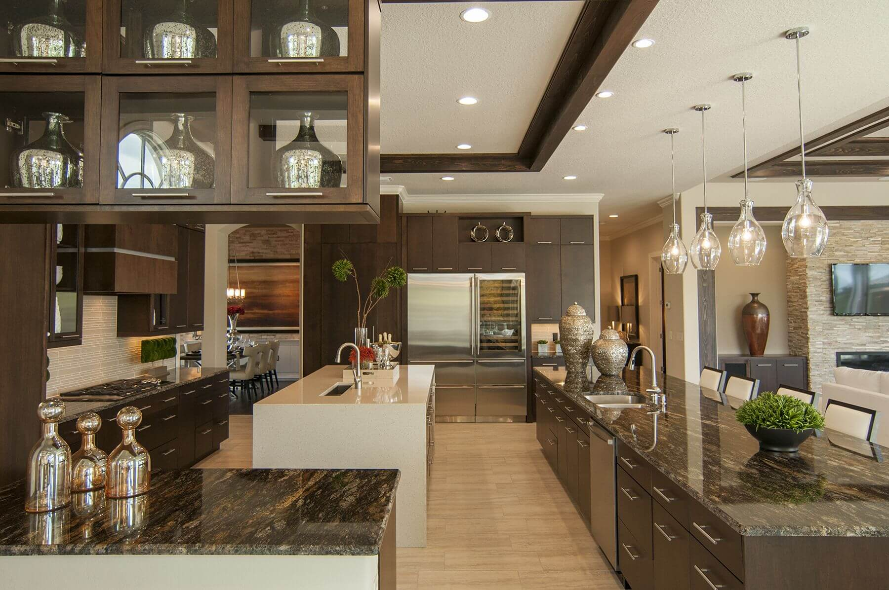 Ultra Modern Look Kitchen Flush With Dark Tones: Marble Countertops,  Minimalist Wood Cabinetry