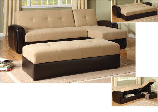 The Swiss army knife of seating, this sectional serves as a seat, storage compartment, and sofa bed.