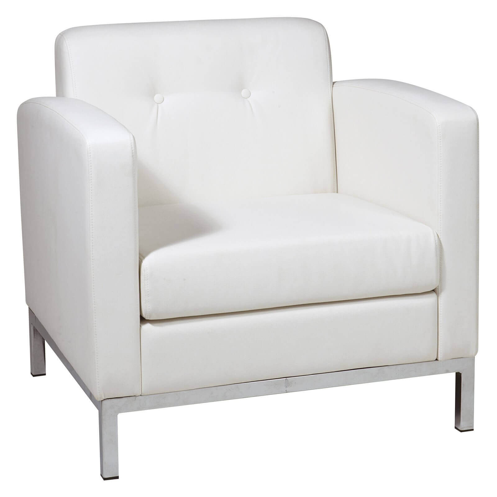 Streamlined, boxy white faux leather design of this accent chair from Office Star provides contemporary style with classic feel. Box spring seating and chrome base keep it grounded in any space.
