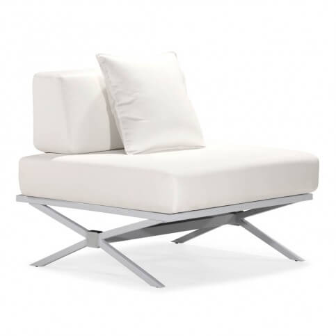 Truly modern, unique faux leather design of this Tosh Furniture chair is foam stuffed and sits on a painted, crosshatch steel frame.