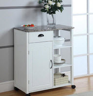 Hybrid Closed and Open Storage Kitchen Cart on Wheels by InRoom Designs