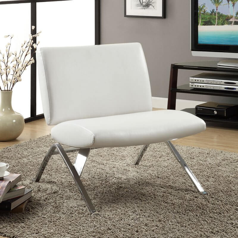 A striking, angular chrome frame supports this minimalist white faux leather accent chair, with twin cushions for seating and back, from Monarch Specialties.