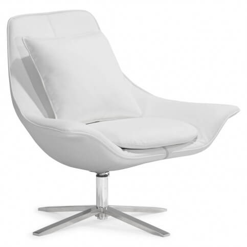 Tosh Furniture presents this Decatur lounge chair with matching ottoman in white, featuring plush foam seat in leatherette over stainless steel swivel base.
