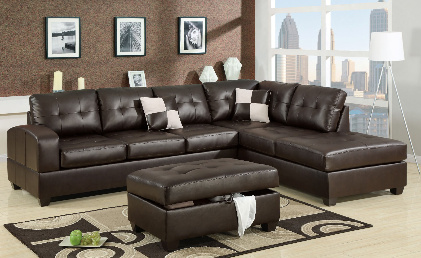 This elegantly modern piece is crafted with bonded leather.