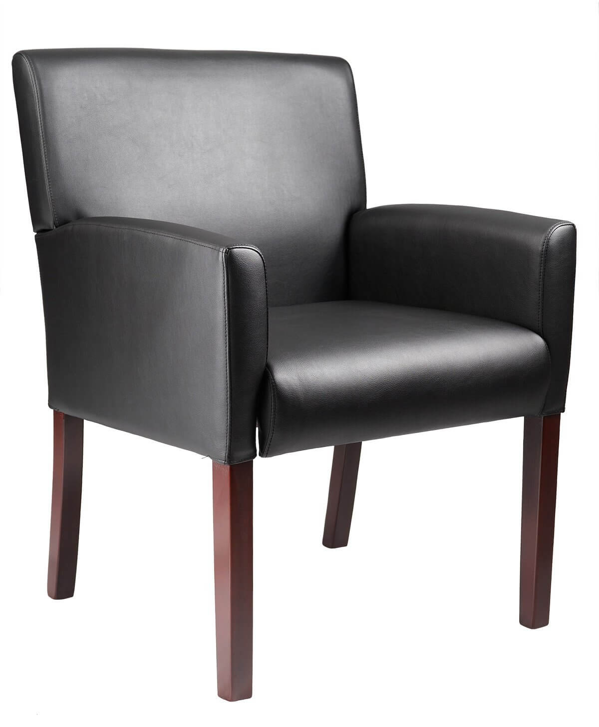 Here's an ideal wood-framed, vinyl upholstery accent chair for a richly decorated room in a dark motif