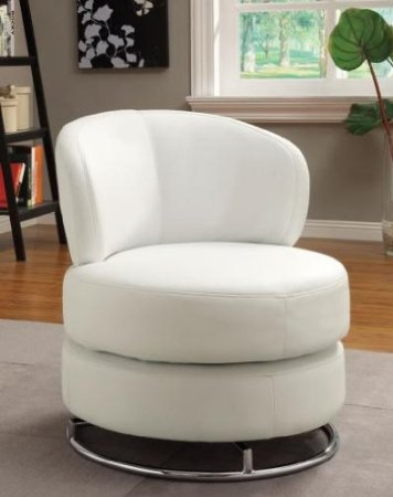This Wildon Home accent chair features swivel action, a thick padded seat, and chrome finish on the metal support structure. Modern, unobtrusive styling and white coloring make it a great addition to any room.