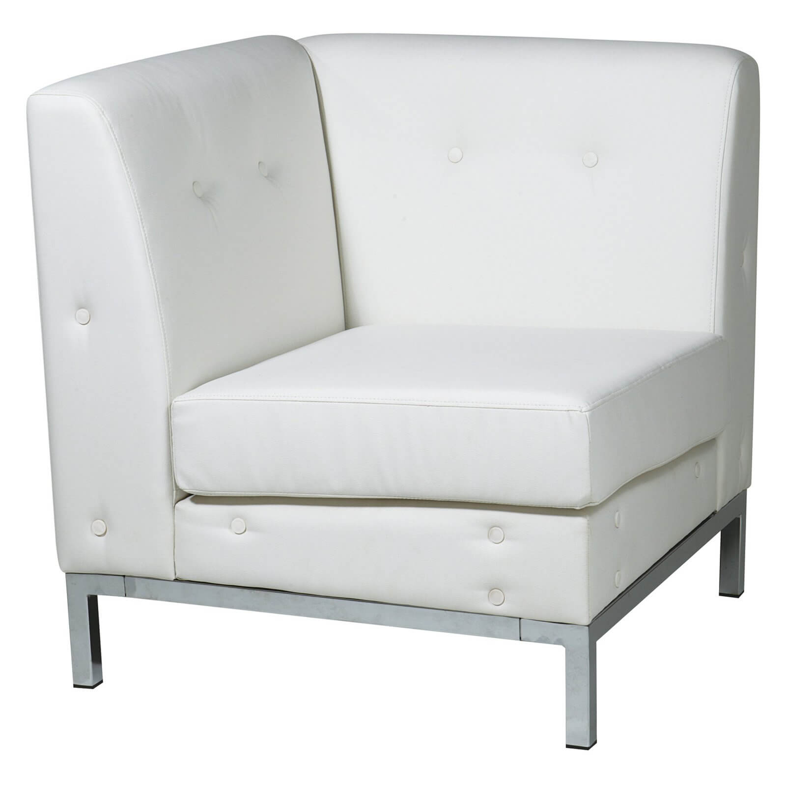 Unique corner design chair from Office Star features faux leather white upholstery and box-spring seat for durability and comfort. Perfect for placing beautifully and unobtrusively in any living space.