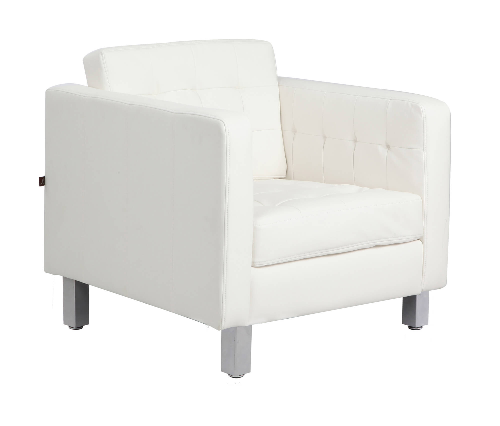Here's another club chair, from Rissanti is upholstered in bonded leather, with spring seat cushion support and contemporary straight lined frame around cushion seating for modern touch.