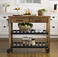 Rectangle Butcher Block Style Kitchen Cart with Shelving and Drawers