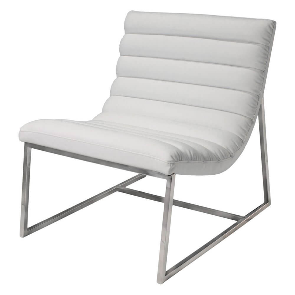 Minimalist elegance defines this chair from Bethel is comprised of corrected grain leather and stainless steel. The neutral tones will fit with any room and the simple construction makes it a naturally unobtrusive addition. It comes in white only.