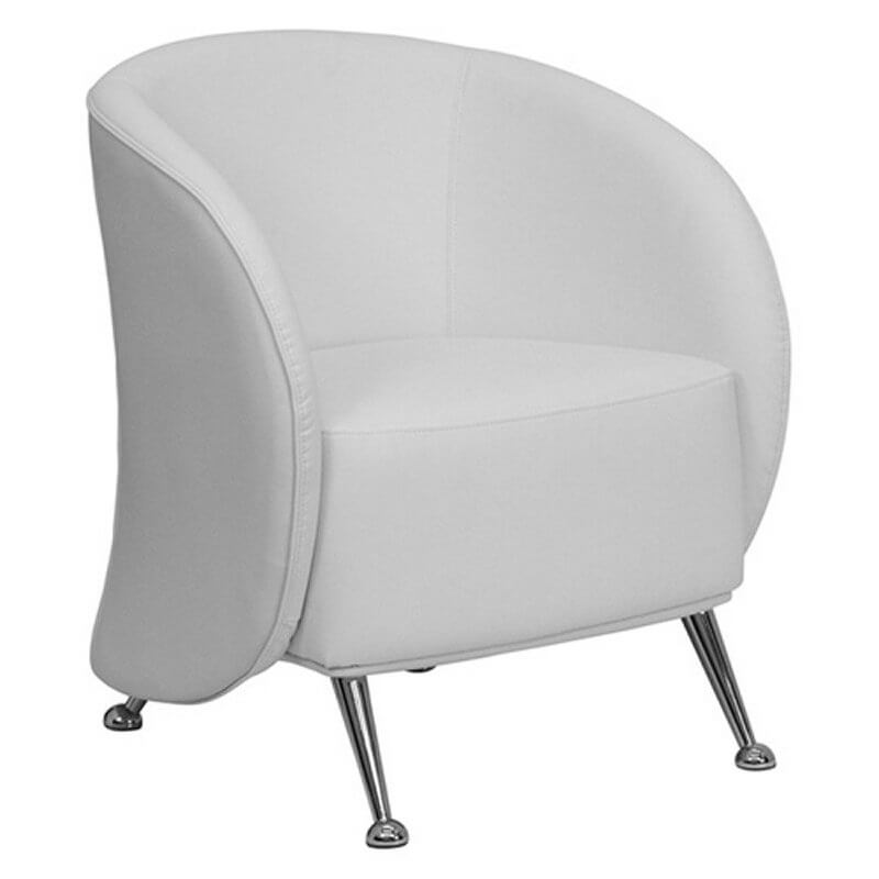 This curved arm and back white leather chair from Flash Furniture features chromed legs with half-sphere feet under taut seat and back with stuffed cushion and eco-friendly building materials.