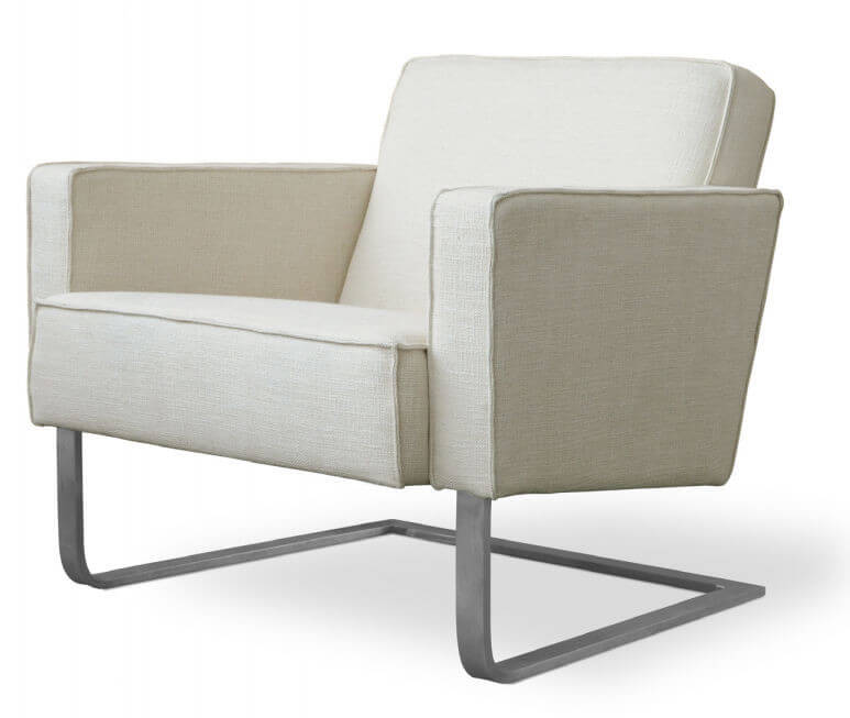 This club chair from Gus Modern features classic lines of upholstered fabric over a cantilevered stainless steel base for an innovative, modern touch.