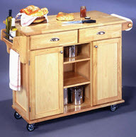 Partially Open and Closed Storage Kitchen Island on Wheels by Home Styles