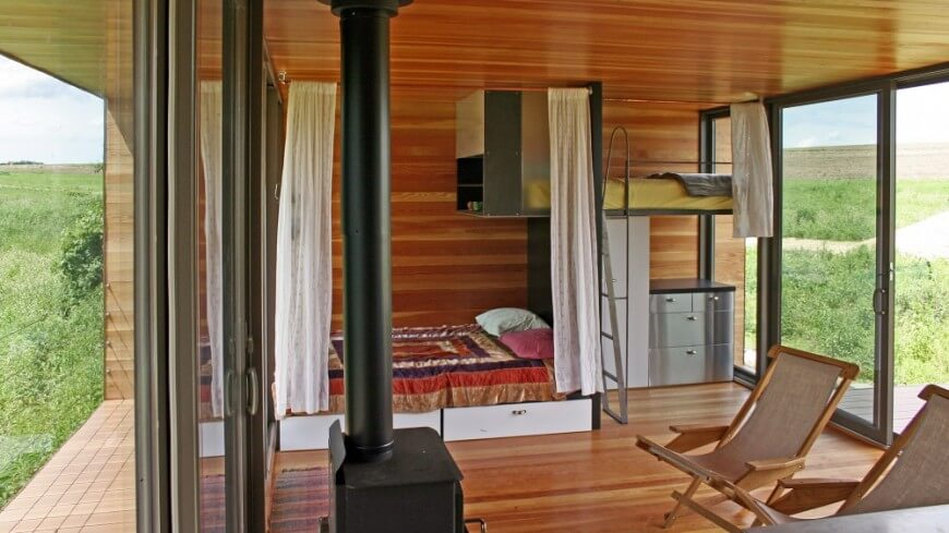 Tiny house living room and bedroom by WeeHouse