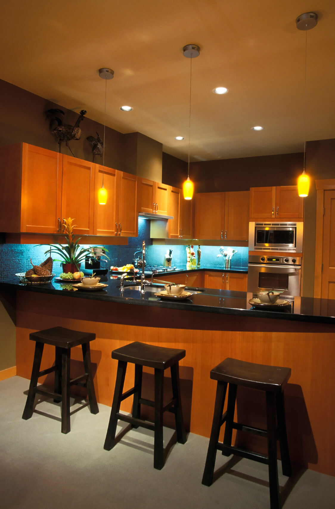 Contemporary Kitchen With Dark Cabinets Blue Backsplash Hgtv
