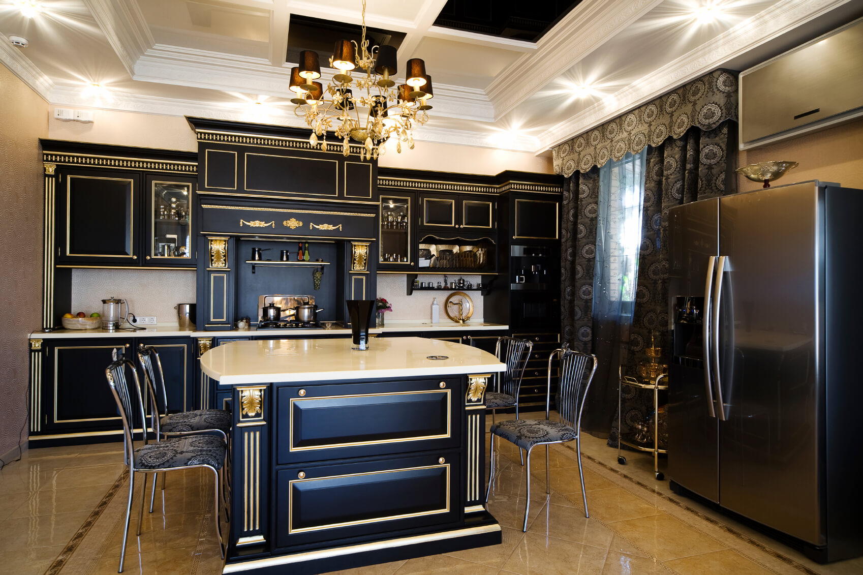 Ultra Luxurious Kitchen Features Gilded Black Wood Cabinetry Over Beige  Marble Flooring. White Marble Countertops