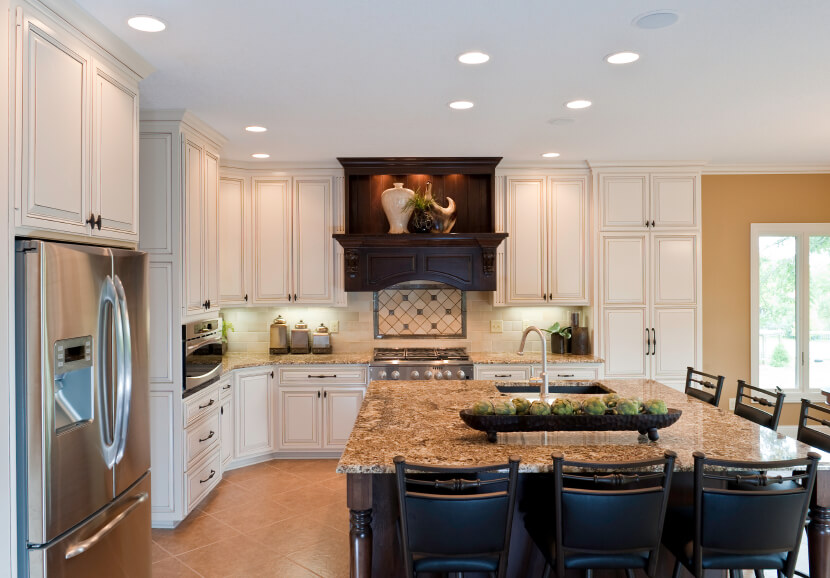 Charming Dark Wood And Marble Countertop Island Stands Out In This White And Beige  Kitchen, With