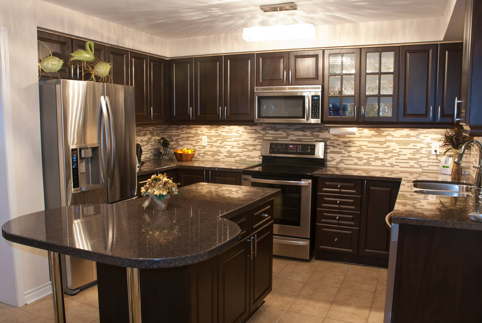 Dark Kitchens With Dark Wood OR Black Kitchen Cabinets - Wood cabinets grey countertops