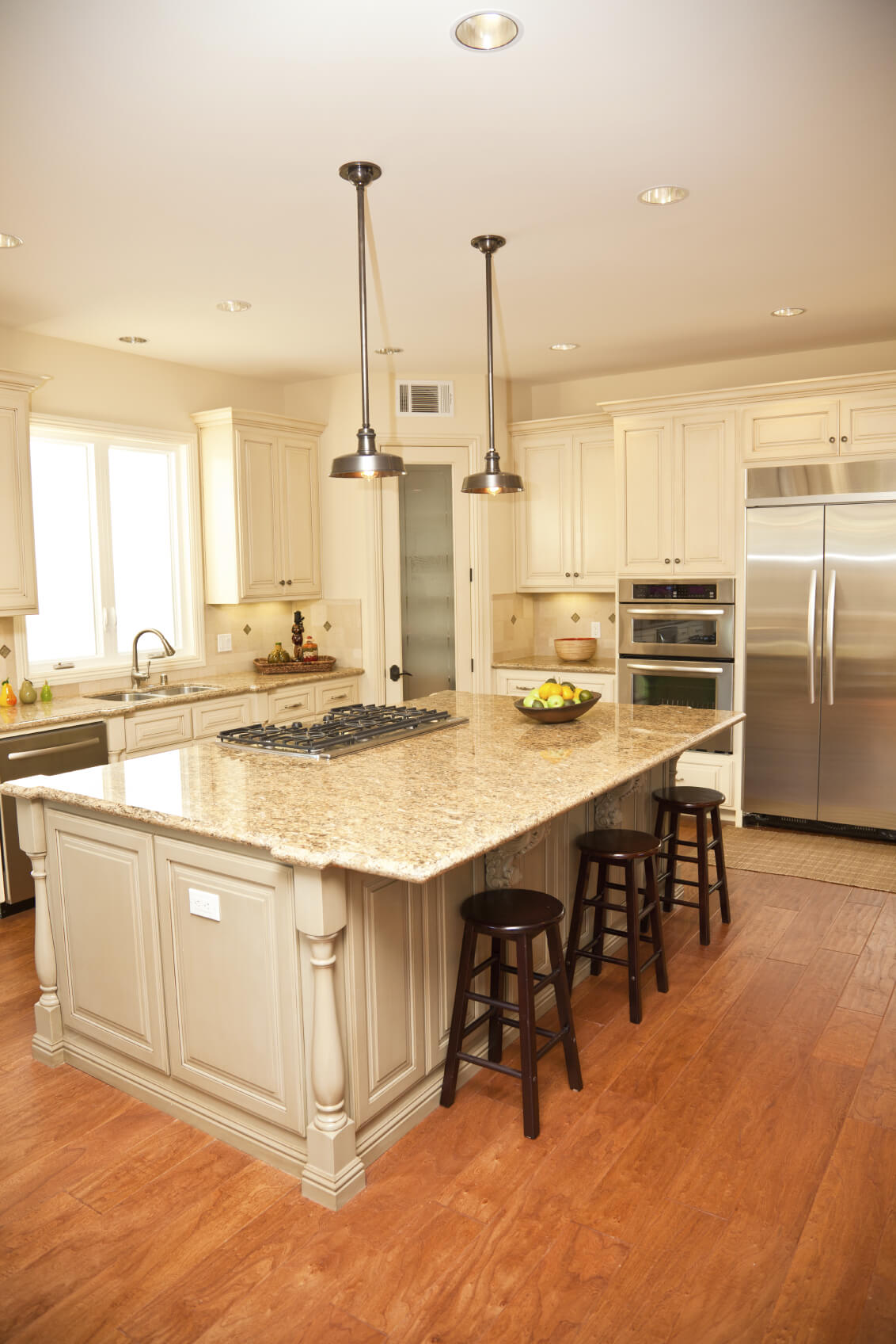 Luxurious Beige Tone Island Features Wide Overhang For Dining, With Built  In Range. Part 52