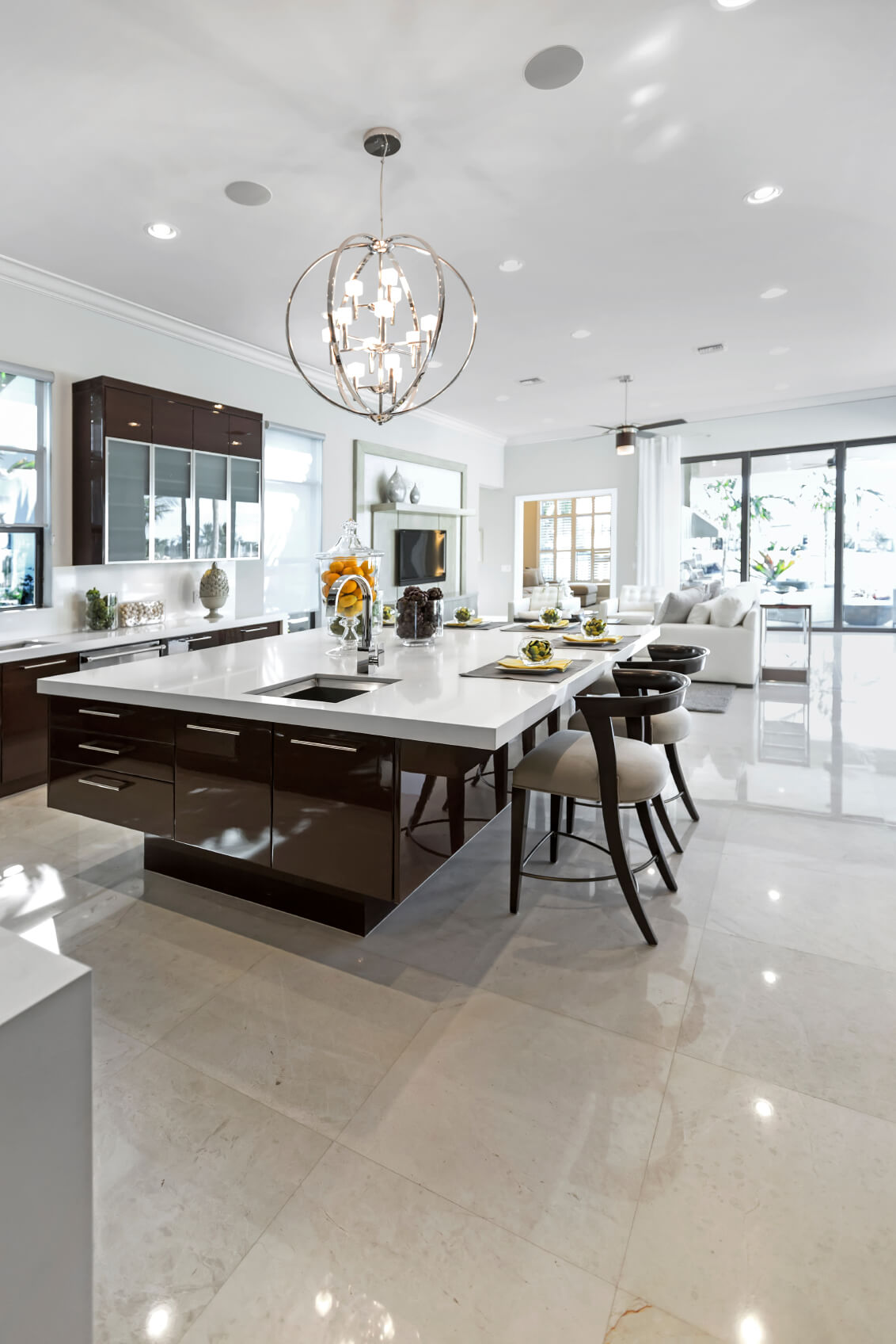 Kitchen island custom designs - Large Modern White And Dark Brown Kitchen With Huge Modern Island With Breakfast Bar