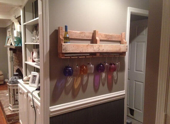 Wine rack hanging on the wall