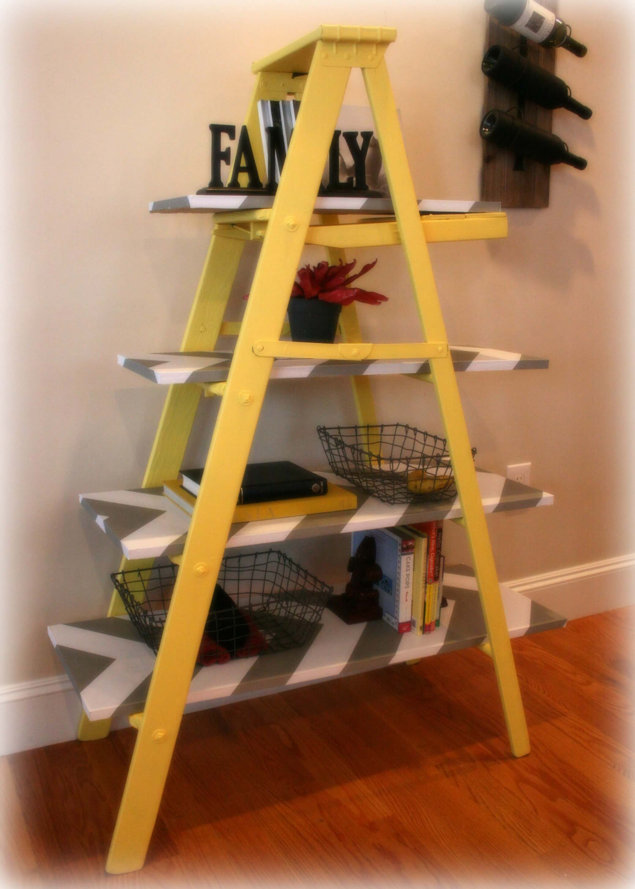 vintage yellow leaning ladder shelf