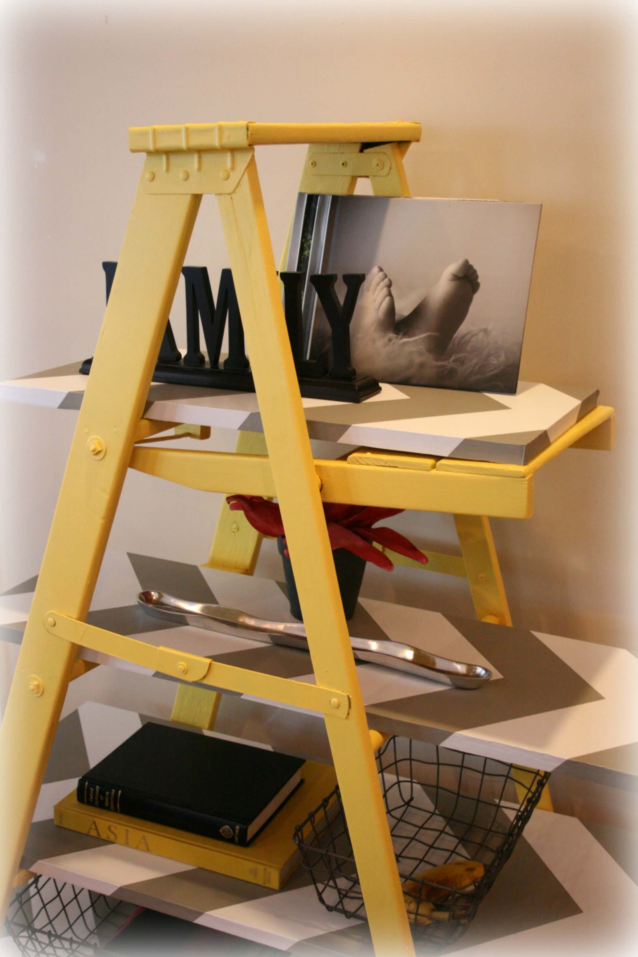 of shelf bookshelf it view s yellow build vintage leaning wooden profile ladder heidi buy or marsh